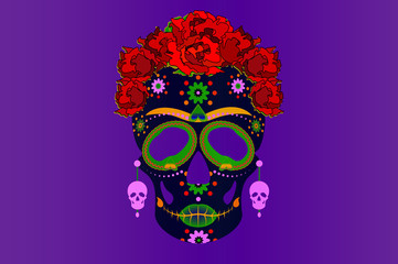 Mexican skull, Calavera with flowers. Decoration for Day of the Dead, Dia de los Muertos. Halloween poster background, greeting card or t-shirt design. Vector face skulls isolated on violet background