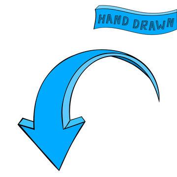 Arrow. Blue Down sign. Hand drawn sketch