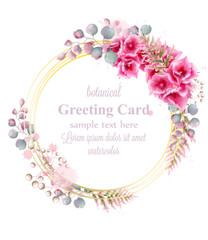 Delicate flowers watercolor wreath frame decor Vector. Greeting card illustrations