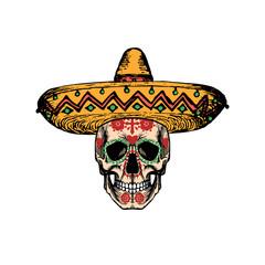 Vector illustration of skull in sombrero for Dia De Los Muertos. Day of the Dead background. Design concept.