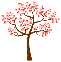Vector tree with curvy branches and heart shaped leaves in pink and red colors