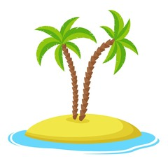 Island with palm trees isolaed on white background, Summer vacation holiday tropical ocean, Vector illustration