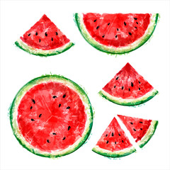 Set of whole, half and slices of watermelon in a cut on a white background. Summer design. Vector watercolor