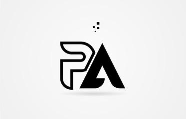 Obraz black and white alphabet letter pa p a logo icon design - fototapety do salonu