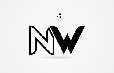 black and white alphabet letter nw n w logo icon design