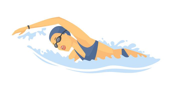 Swimming woman - modern colorful vector cartoon character illustration