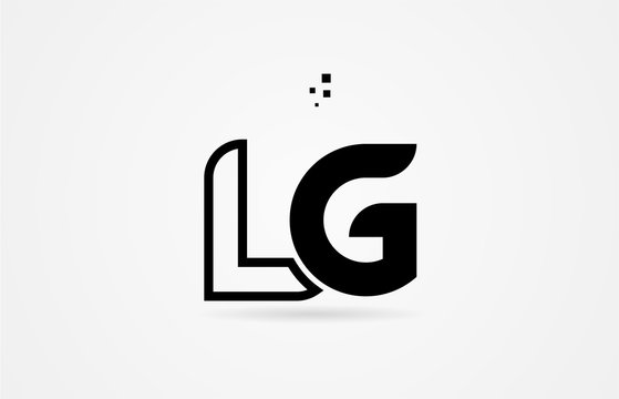 black and white alphabet letter lg l g logo icon design