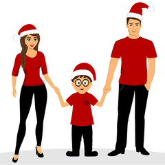 Christmas card. Christmas illustration with family. Isolated obj