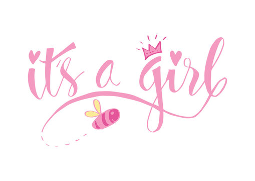 It's a girl lettering. Baby shower design card for invitation