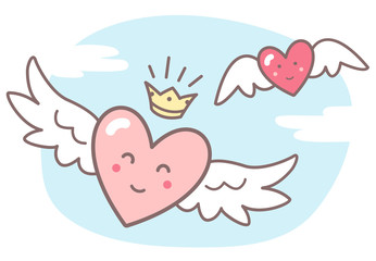 Hearts with wings and funny smiling faces, sky with clouds. Valentines Day vector illustration. Cute cartoon style picture. Winged animated hearts, shining crown, blue sky background with clouds.