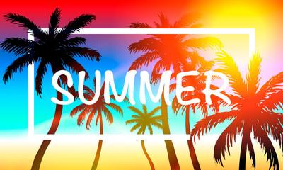 Palms summer cover frame banner, art design signboard . Vector illustration