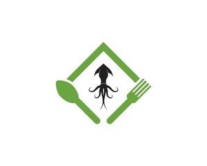 Squid resto logo vector template