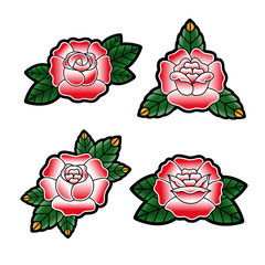 Set of roses in the style of the old school tattoo. Isolated on white background. Vector illustration.