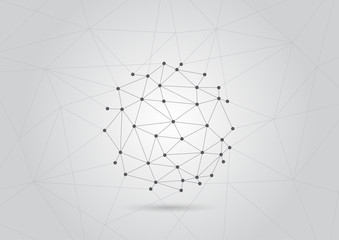 Abstract background global polygonal with dots and lines. Vector social network and connecting concept.