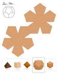 Platonic solids. Template of a dodecahedron with wooden texture to make a 3d paper model out of the triangle net.