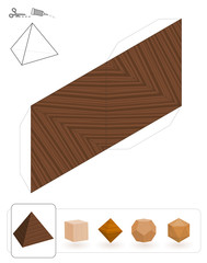 Platonic solids. Template of a tetrahedron with wooden texture to make a 3d paper model out of the triangle net.