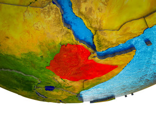 Ethiopia on 3D Earth with divided countries and watery oceans.