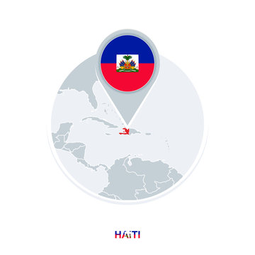 Haiti map and flag, vector map icon with highlighted Haiti