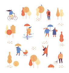 Different People in warm clothes having fun outdoors in urban park. Colorful Autumn park flat vector illustration.