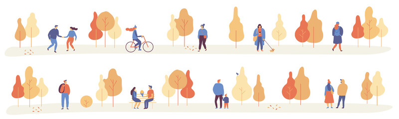Autumn park with people horizontal banner. People in warm clothes having fun outdoors in urban park. Flat Vector illustration.