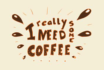 Illustratie - handlettering koffie