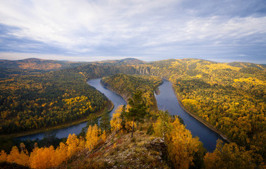 Taiga landscape and rivers in autumn