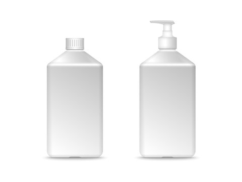 White square plastic bottle with screw cap. Mock-up vector illustration for design