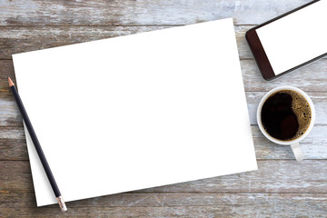 White blank paper or notepad with pencil and coffee