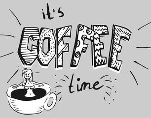 Koffie illustratie - stripfiguur wordt wakker on een kop koffie bad