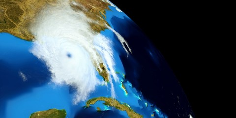 Extremely detailed and realistic high resolution 3D illustration of a Hurricane. Shot from Space. Elements of this image are furnished by Nasa.
