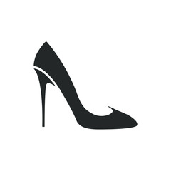Women shoe vector icon. Black high heel Shoe on white background.