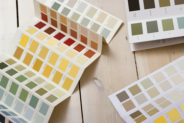 Diy paint color charts for house decoration and improvement on wooden floor