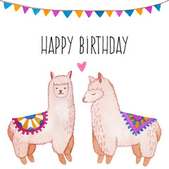 Llama and alpaca collection of cute hand drawn watercolor illustrations, cards and design for nursery design, poster, greeting card. Llamas or alpacas clip-art. Cute animals watercolor illustration.