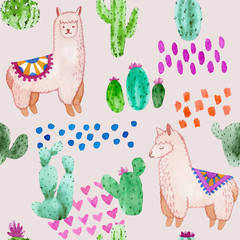 Seamless pattern. Llama and alpaca collection of cute hand drawn watercolor illustrations, cards and design for nursery design, poster, greeting card. Llamas or alpacas clip-art. Cute animals art.