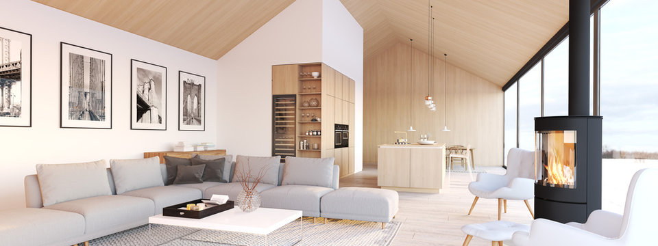new modern scandinavian loft apartment. 3d rendering