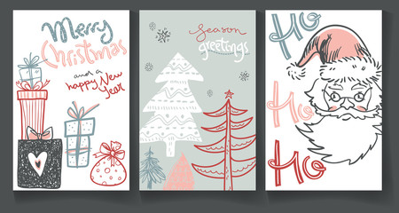 Collection of winter greeting cards with doodle hand drawn Santa