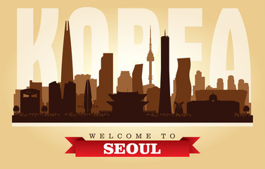 Seoul Korea city skyline vector silhouette