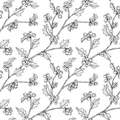 Christmas pattern seamless background. with holly, berries illustration.