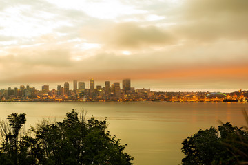 Seattle skyline at dawn, Washington State, USA