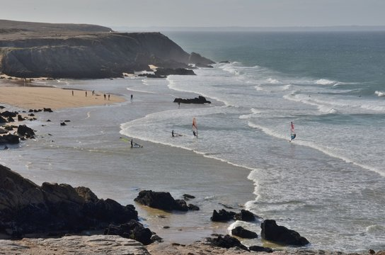 Windsurf in wild coast, Bretagne, France