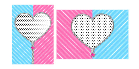 Open heart zipper with cute lock on bright blue pink background. Striped pattern for Lol Doll Surprise girly party. Birthday invitation template with round zip. Unzipped vector border design element