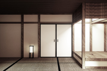 mock up, Japanese empty room tatami mat Designing the most beautiful - Zen style. 3D rendering
