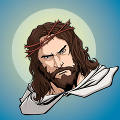 Portrait of Jesus Christ wearing crown of thorns and looking at you with serious expression.