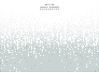 Obraz Abstract of futuristic technology in dark gray square pattern pixel background. - fototapety do salonu