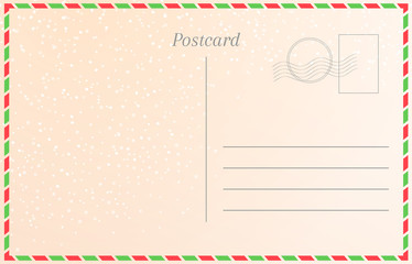 Winter holiday postcard with snowfall. New year greeting card template.