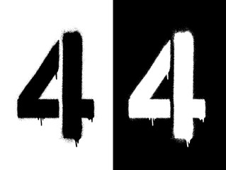 Stencil numeral 4 and drip paint. Black on white, white on black. Vector illustration