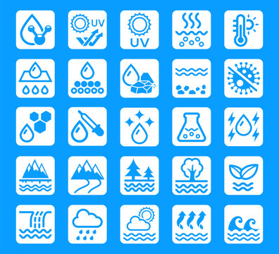 Water quality for package product icon. Symbol of improving scientific fluid process.
