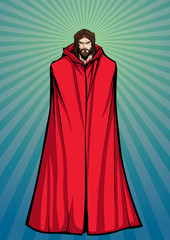 Full length illustration of Jesus Christ wearing red cloak and looking at you with serious expression.