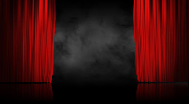 Red stage curtain with smoke background