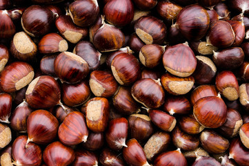 Top view of chestnuts.